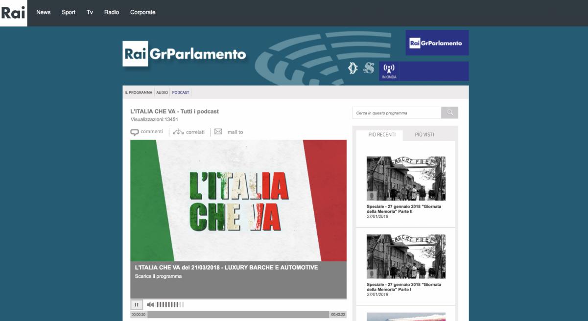 L'Italia Che Va – Rai Gr Parlamento Radio – Interview
