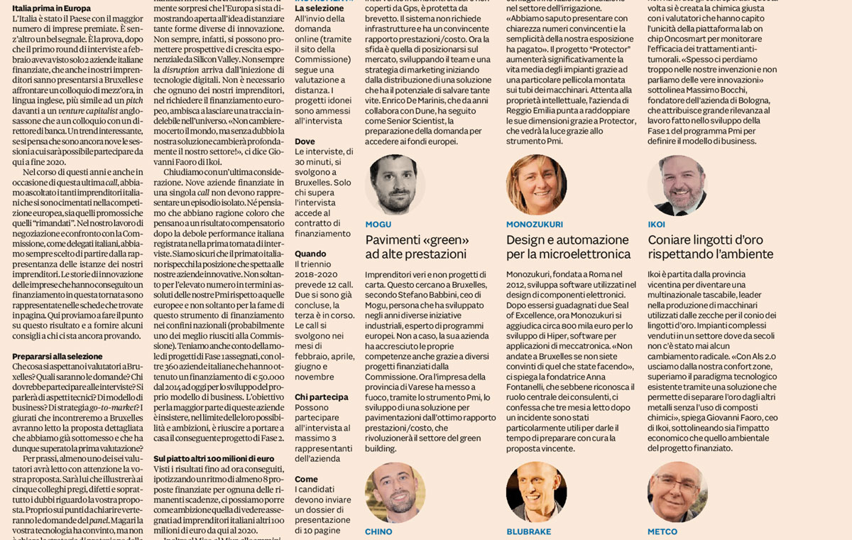 IlSole24Ore – SMEs & EU – The Lesson of the Magnificent 9 Italian SMEs – Article