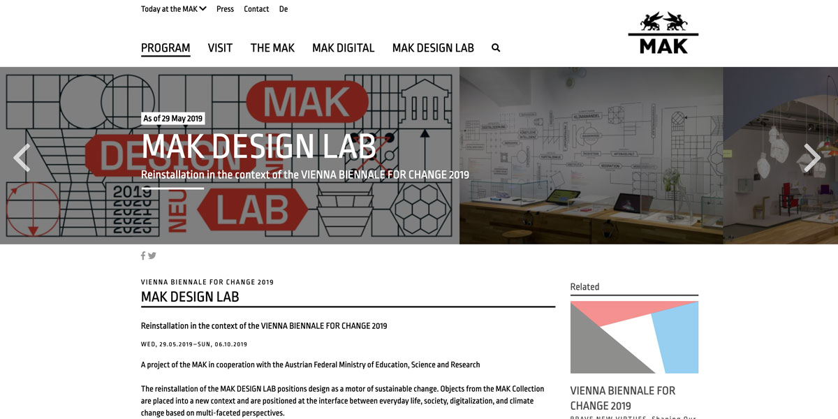 MAK Design LAB @VIENNA BIENNALE FOR CHANGE 2019 – Wien (AT) – Exhibition
