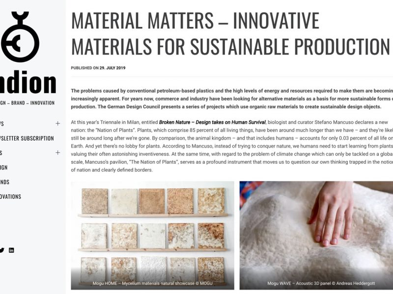 MATERIAL MATTERS – Innovative Materials for Sustainable Production @German Design Council (DE) – Article